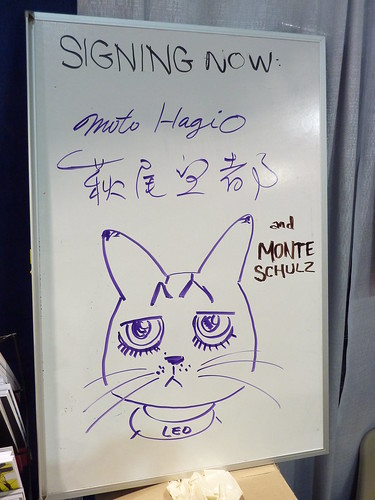 Moto Hagio's Leo on our whiteboard - Fantagraphics at Comic-Con 2010