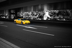 That's Shanghai ! (Woods | Damien) Tags: china urban car yellow asia flickr shanghai ferrari voiture jingan asie   rue shanghaiist meet chine selectivecolourisation shanghaiflickrmeet  wwpw worldwidephotowalk2010