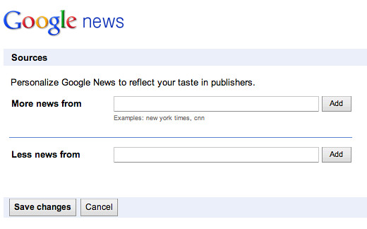 Google News Source Preferences