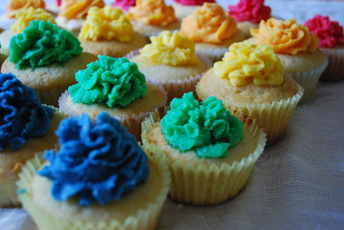 Cupcakes with Rainbow Buttercream