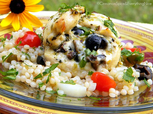 Feta and Olive Chicken Rollatini with Israeli Couscous and Ladolemono