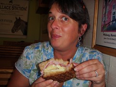 my daughter jessica eating a huge rueben sandwich at wallace station