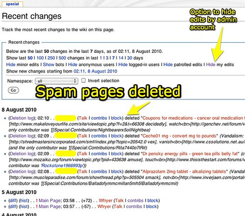 Spam pages deleted - Hide Admin Edits