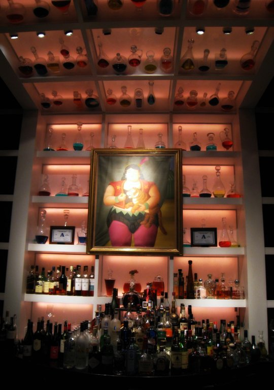 Fernando Botero circus painting above bar at Botero Restaurant in Vegas