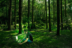 Geekerie bucolique (never ends) Tags: trees light man france green forest macintosh mac beige geek bokeh flash manipulation vert macclassic arbres motorola montage foret 68000 68k informatique bucolique strobist