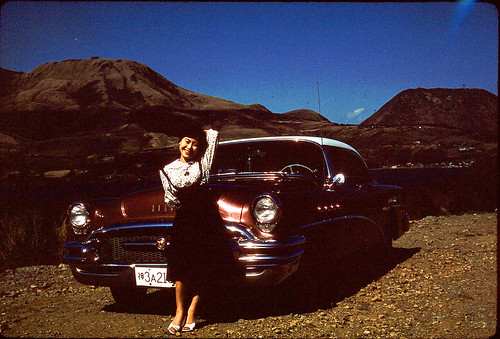 ty_poses_on_car_1950s