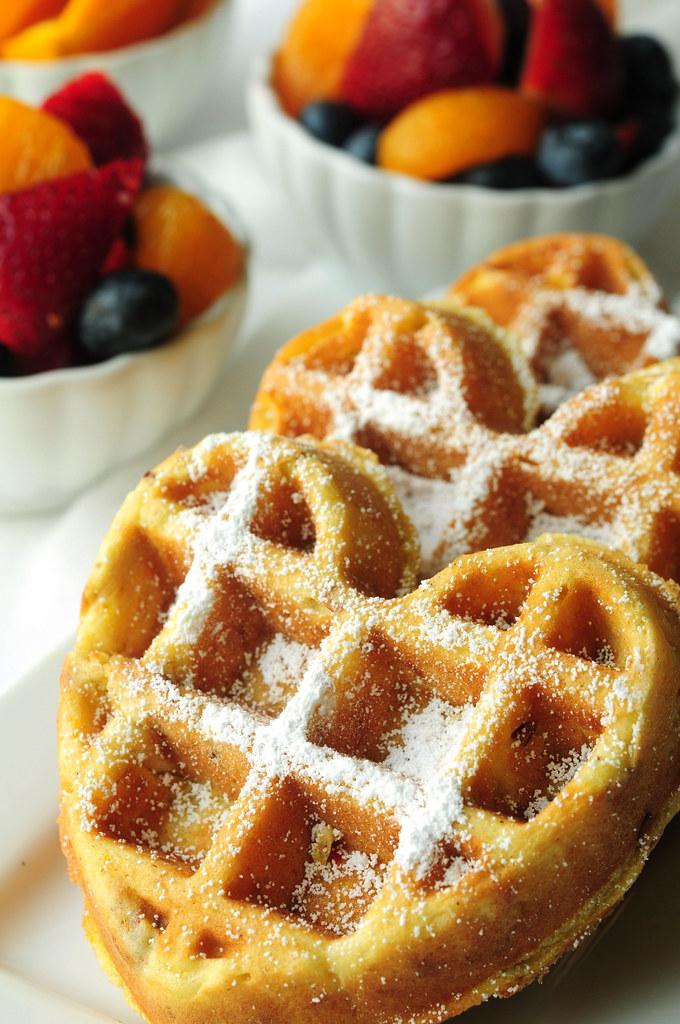 orange waffles with fruit
