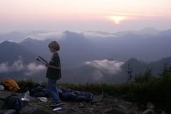 Ty reading on Gee Peak