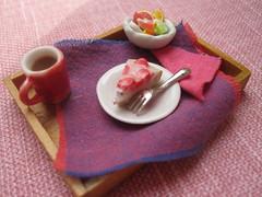 breakfas tray (sleeping-dog) Tags: food cake fruit miniature strawberry handmade chocolate cream mini sandwich polymerclay fimo patisserie caramel taco pastry tray tart dollhouse petit mignon cernit