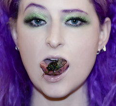 Cicada Nom (wisely-chosen) Tags: selfportrait bug cicada insect august picnik 2010 purplehair cameraraw inmymouth verylonghair colorfulhair lavenderhair naturallycurlyhair onmytongue adobephotoshopcs4 canonspeedlite430exii manicpanicultraviolet manicpanicpurplehaze manicpanicshockingblue manicpanicmysticheather manicpanicplumpassion tamronaf90mmf28dispam11macrolens coastalscentsultrashimmermica