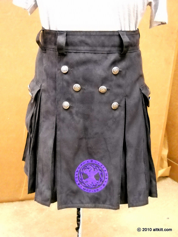 Microsuede with dark purple embroidery