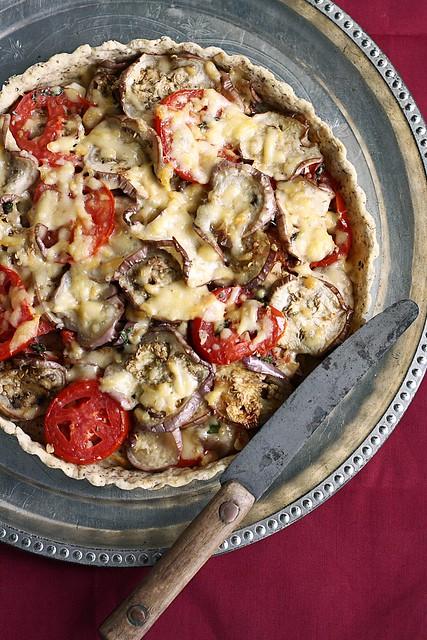 Eggplant Tomato Smoked Mozzarella Tart