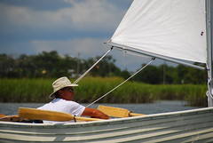 Sailing the Swamp (Let Ideas Compete) Tags: trip summer people usa white man beach sc hat relax south southcarolina sunny august kayaking swamp wetlands carolina marsh ropes folly wetland 2010 oars peoplesailing