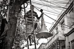 Sound Setup (Satyaki Basu) Tags: street people india canon eos loudspeaker indian 1750 ladder tamron kolkata bengal bnw calcutta bangla westbengal 450d gettyimagesmiddleeast