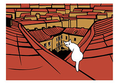 -. (St. Petersburg) (taschaka) Tags: roof art illustration cat stpetersburg graphic postcard card katze