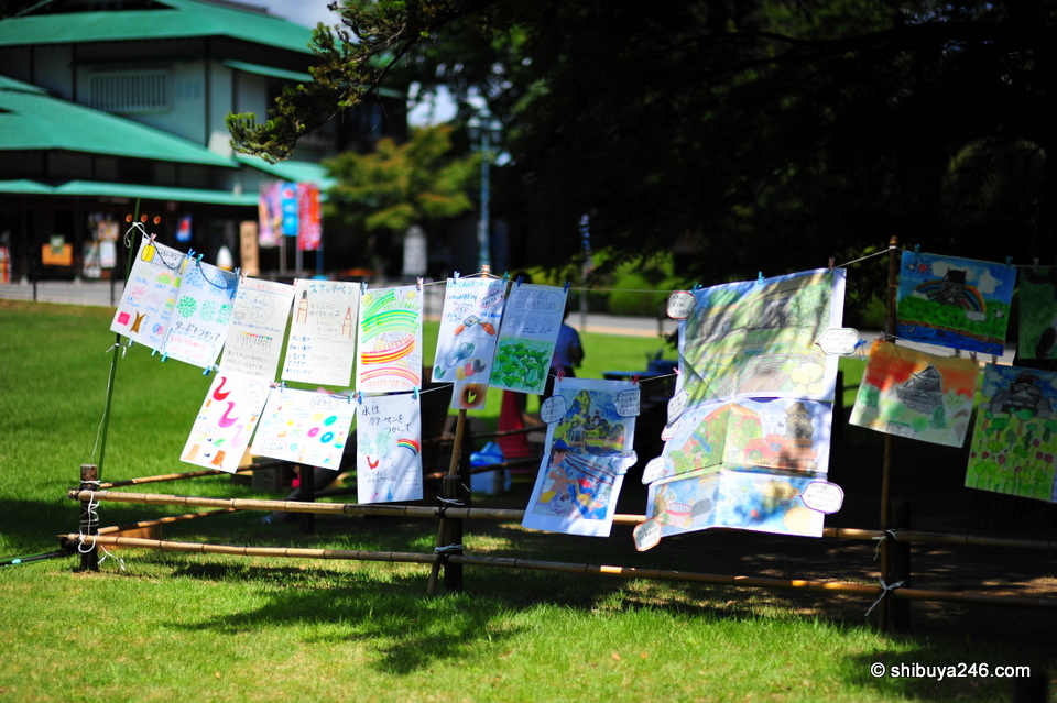 Like washing on the line, the kids put out their paintings to dry