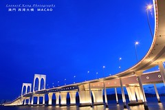 Macau SaiWan Bridge (LeonardKong) Tags: bridge blue light golden m macau macao  saiwan