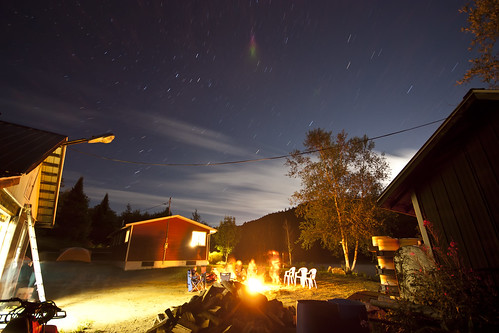Cottage, Fire, and Stars