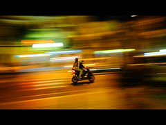 . . . . . . . (Front Page Explore) (Marcin Sowa) Tags: road lighting city light cinema motion blur night de evening nikon exposure nightlights ambientlight scooter front crop page ambient nikkor cinematographer cinematic panning 169 mallorca palma fp frontpage blured highiso 18mm panned d300 15s iso640 mallaca explored expore 18105mm