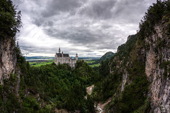 Neuschwanstein Castle (Frenklin) Tags: travel mountains castle clouds germany landscape bayern bavaria wolken fisheye sight slot neuschwanstein schloss 8mm duitsland hohenschwangau kasteel schlossneuschwanstein fssen allgu allgau schwangau neuschwansteincastle beieren samyang landshap alpinefoothills slotneuschwanstein castleromanticism