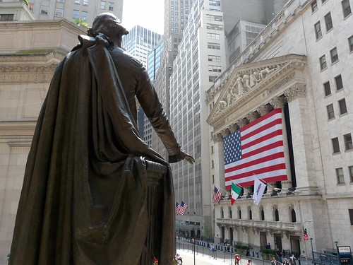 George Washington face à la bourse de New York