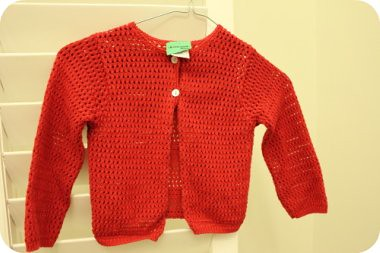 red knit cardi