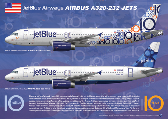jetBlue Airbus A320-232 Jet Airliners 10th Anniversary