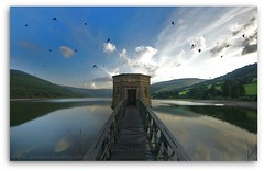 THE BIRDS. (IMAGES OF WALES.... (TIMWOOD)) Tags: sky sun mountains water birds wales clouds reflections sony south lakes reservoir hills alpha brecon beacons mid swallows talybont a700