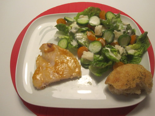 grilled tilapia with miso sauce, salad, bread