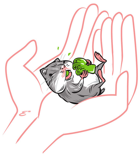 Baby Hamster Eating Broccoli