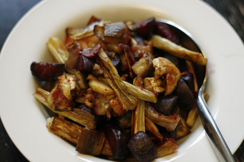 Roasted Beets, Leeks and Eggplant