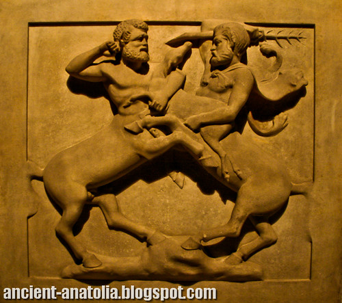 The fight scene of the Centaurs