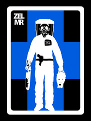 Zombie Extermination League - Medical Reclamation (Jordan.A.) Tags: blue white black monster logo design graphicdesign zombie medical doctor badge pistol horror undead zombies hazmat logodesign zel decapitated decapitation bonesaw hazmatsuit zombiearmy sportslogo gasmack zombieexterminationleague medicalreclamation