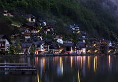Sleeping Beauty (NatashaP) Tags: city longexposure houses lake night reflections lights austria pier hill explore frontpage halstatt beforedawn interestingness38 lplongexposure
