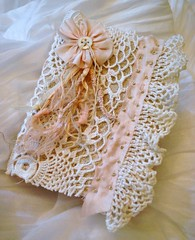 lace journal (skblanks) Tags: french lace antique crochet journal mother silk covered button ribbon pearl knots rosette pockets gauze removable ruching rufffle