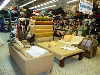 cavernous downtown fabric shop