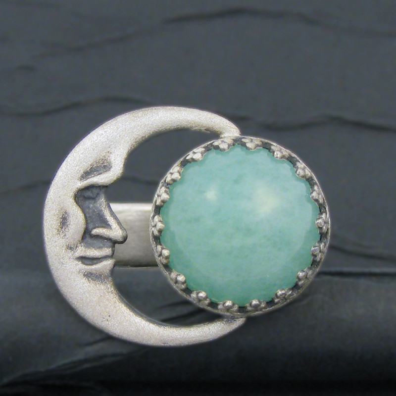 jade and crescent moon sterling silver ring .front