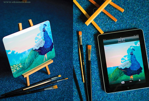 Custom Peacock illustration skin for my iPad by Oksancia