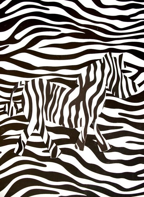 Camouflaged zebra
