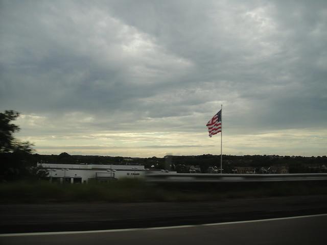 Mon premier drapeau américain aux USA sur la route entre Minneapolis et St. Olaf