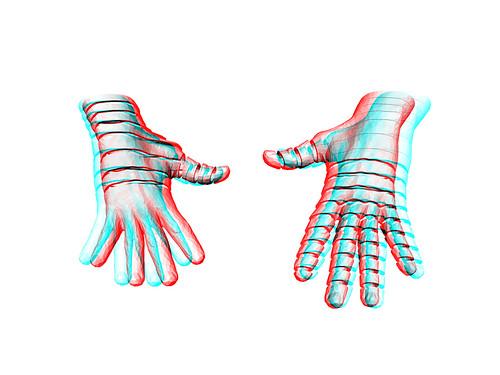 anaglyph hands