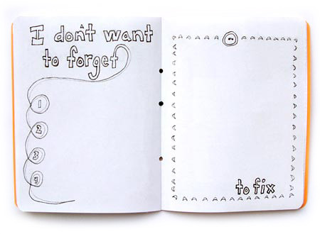 i don't want to forget and to fix hand drawn silly journal