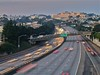 the somewhat sleepy commute (pbo31) Tags: sanfrancisco california longexposure morning motion sunrise canon highway traffic gray over overpass motionblur freeway commute slowshutter curve glenpark 280 lightstream 2011 missionterrace