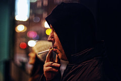 drag (ewitsoe) Tags: seattle city snow cold dark fun drag 50mm lights washington nikon downtown habit bokeh cigarette smoke butt smoking burn cig hoody pacificnorthwest wa addicted visiting cinematic pnw addiction myfriend habitual d80 ihaveknownthisguyforwaytoolong wasthinkingaboutthemovietaxidriverwheniedited badhabitsbad