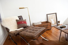 (emilycm) Tags: bedroom trophy sheepskin guestroom barcelonachair woodcrate crosspillow hugochair ohdeerprint kochlowybrassfloorlamp