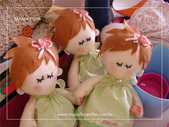 Bonequitas Verdinha (mariafloratelier2) Tags: baby doll bonecas babies rosa felt corao beb feltro jardineira minirosa portamaternidade jardimdasbonecas