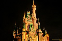 Cinderella Castle (Ahsan.) Tags: castle cinderella night bright golden orange glow canon 7d amazing beautiful