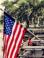 Stars and Stripes. (unnurol) Tags: oak independencedayfourthofjulyflagredbluewhitewatertreeoutdoorgreenpier
