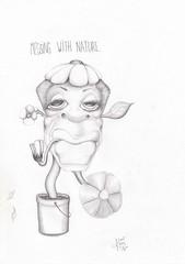 Messing with nature. (Klaas van den Burg) Tags: surrealism black white funny kloning humanplant humor pencil