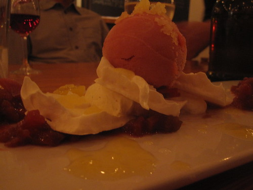 Rhubarb and pineapple vacherin